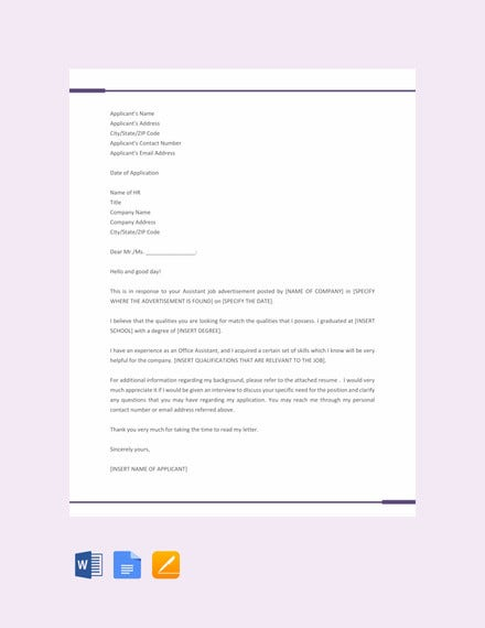 job application letter template for assistant