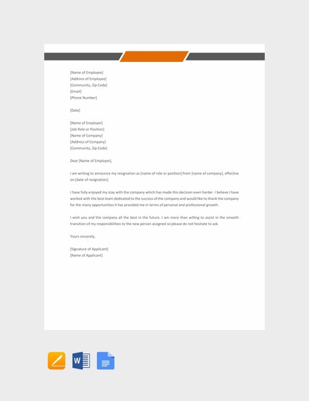 job resignation letter template1