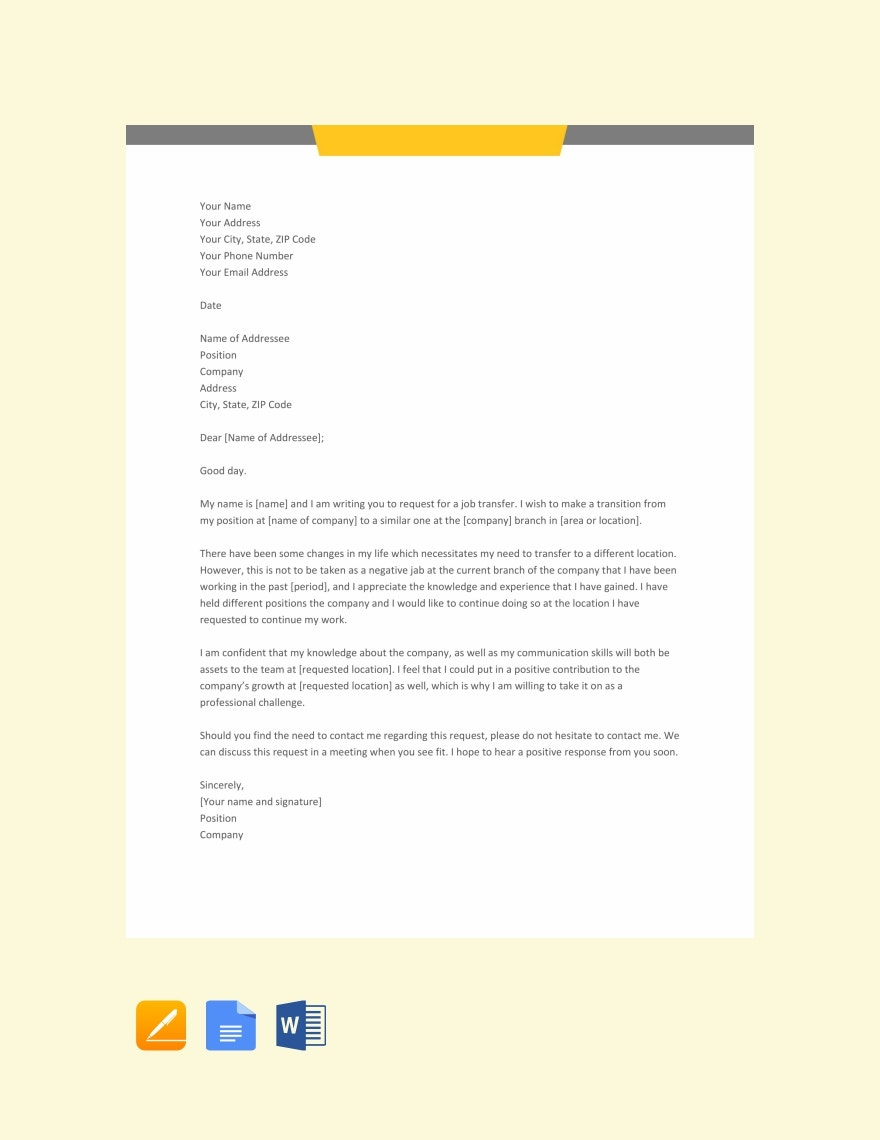 Job-Transfer-Letter-Template1 Sample Application Letter For English Teacher Without Experience on