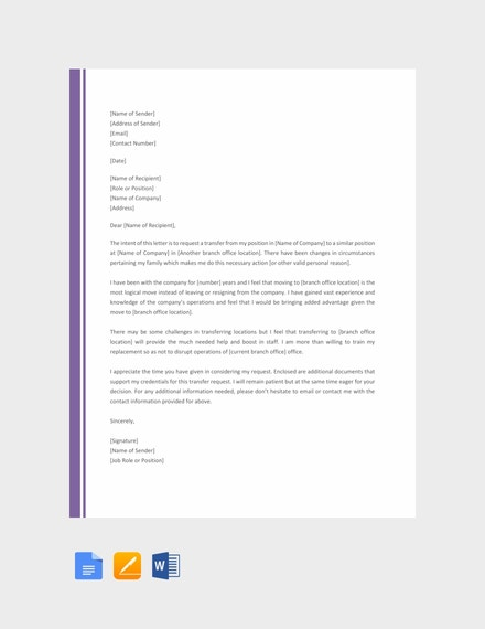 job transfer to another branch request letter template
