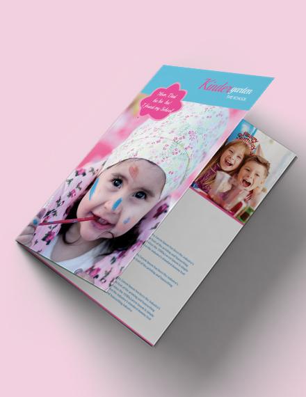kindergarten bi fold brochure template in illustrator