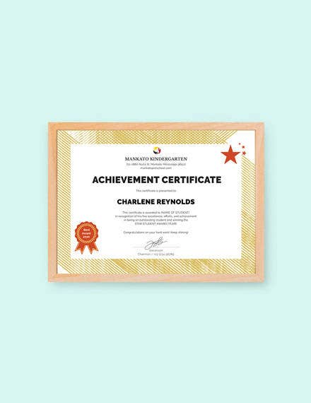 kindergarten certificate template of achievement