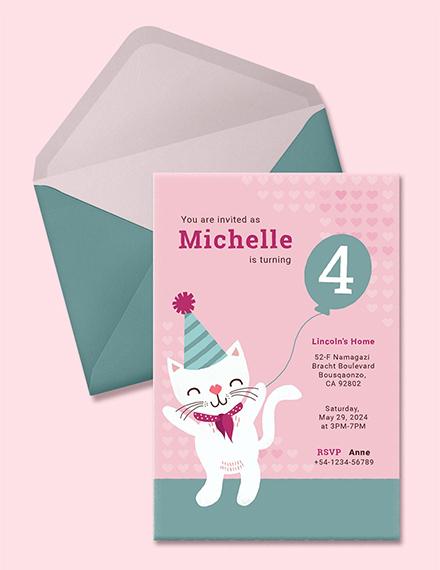 kitty animal birthday invitation template