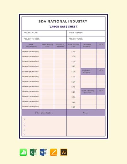 labor rate sheet sample