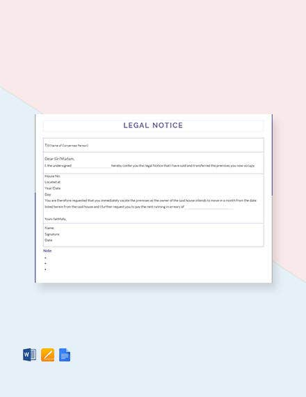 legal notice template