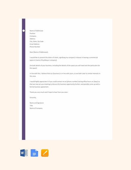 letter template of intent for business