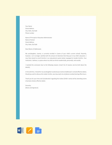 letter template of intent for school