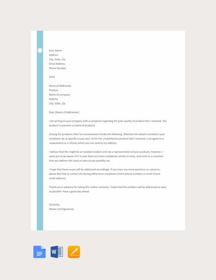 letter of customer complaint