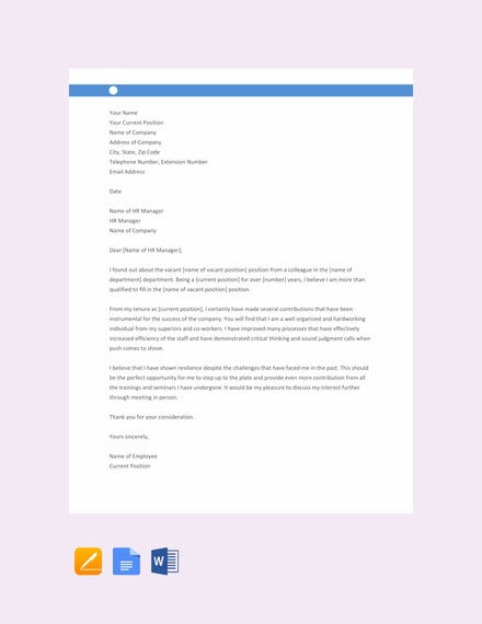 letter of interest for job within current company