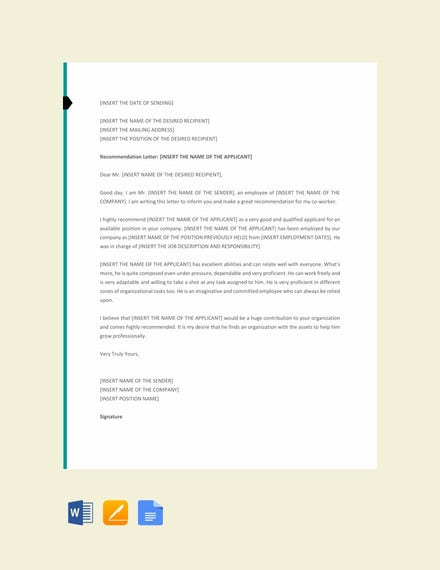 letter of recommendation for a co worker template