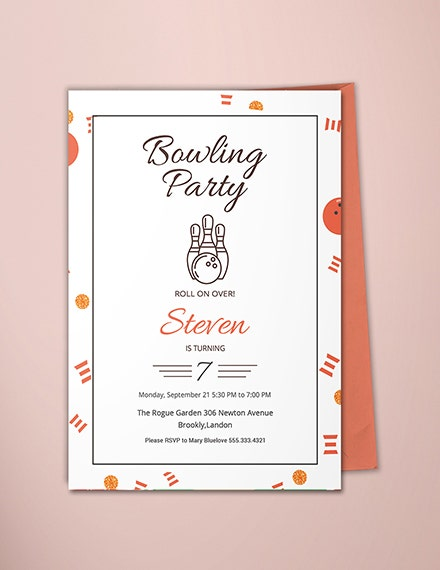 Linear Bowling Party Invitation Template