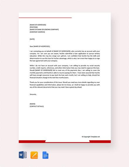 loan guarantee letter