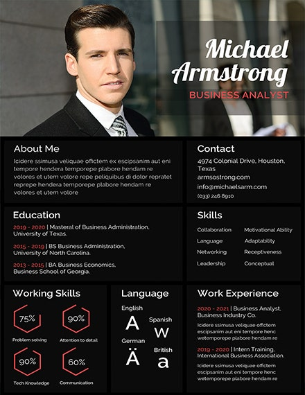 mba photo resume template