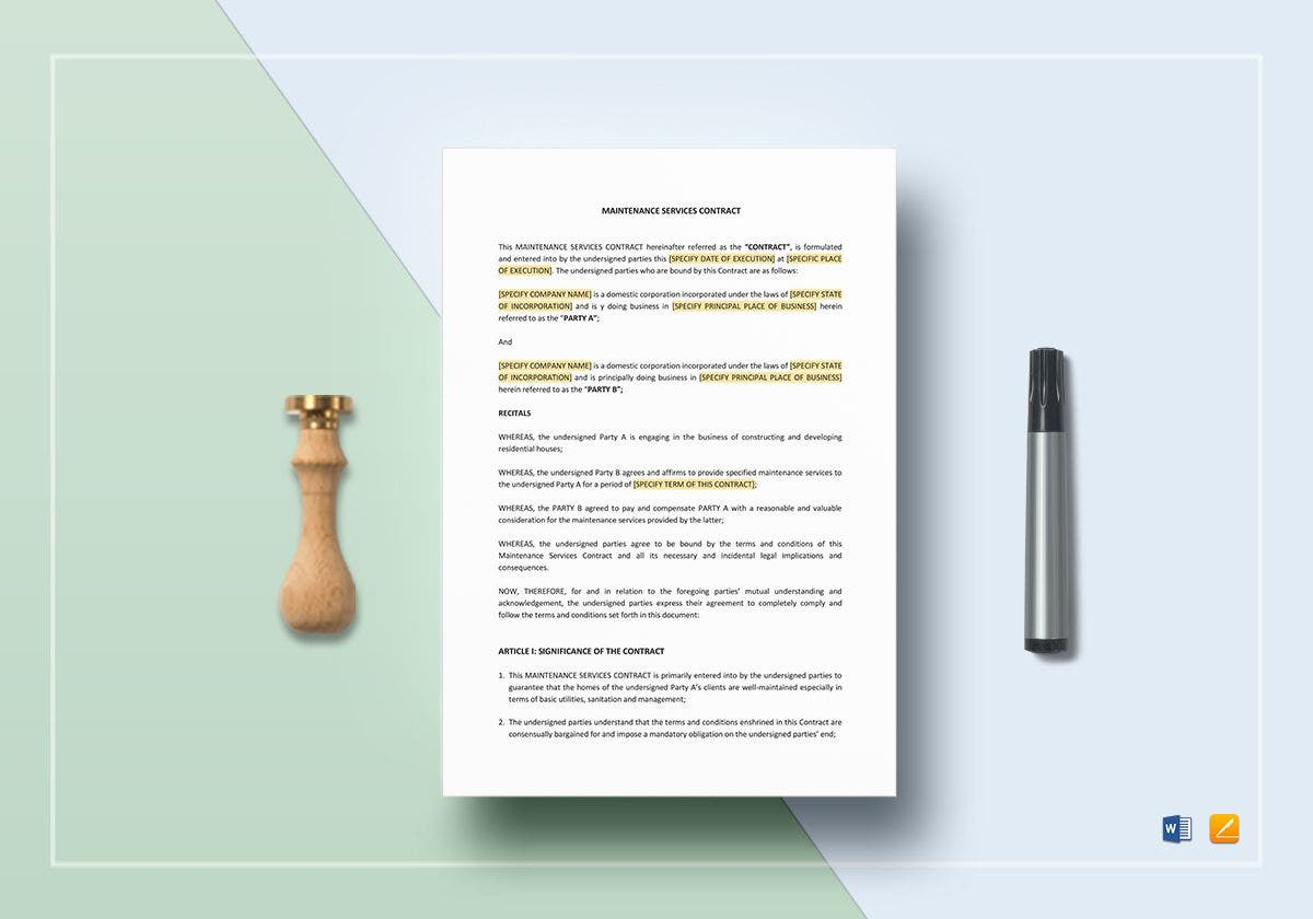 maintenance services contract template