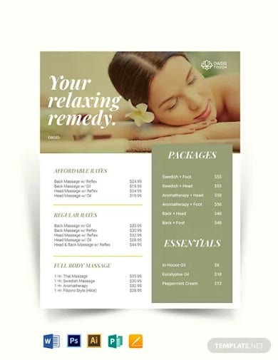massage price list template