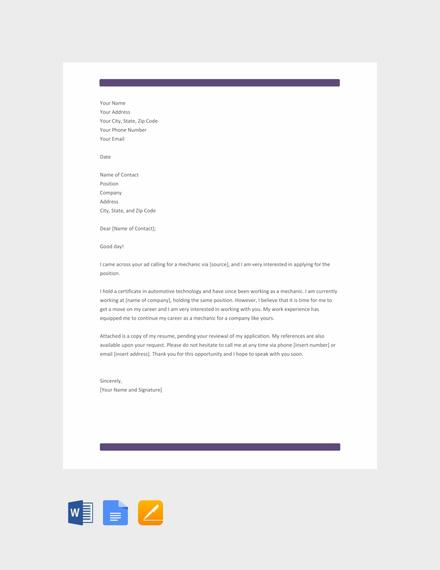 mechanic resume cover letter template