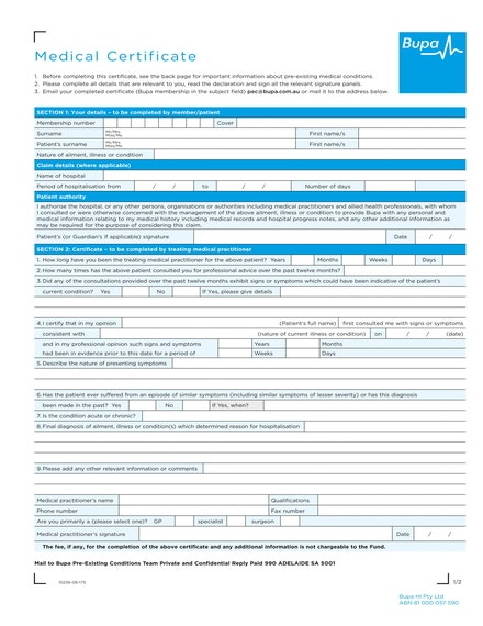 medical certificate fillout form sample