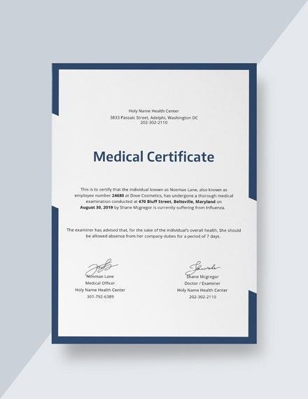 Medical Certificate Sample
