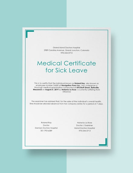 medical certificate for sick leave example