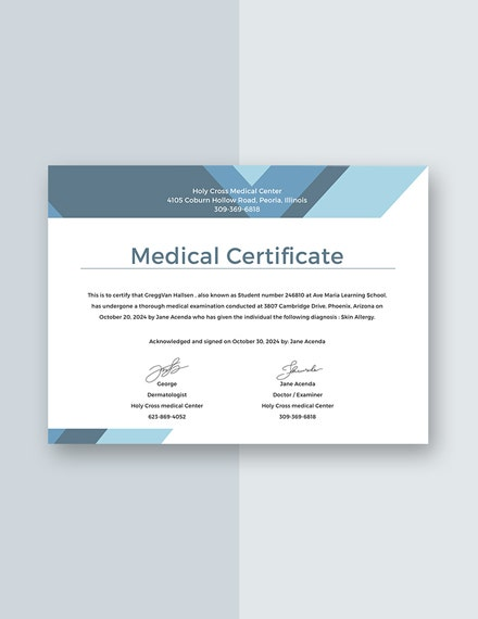 Medical Certificate for Student Sample