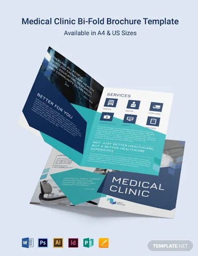 medical clinic center bi fold brochure template