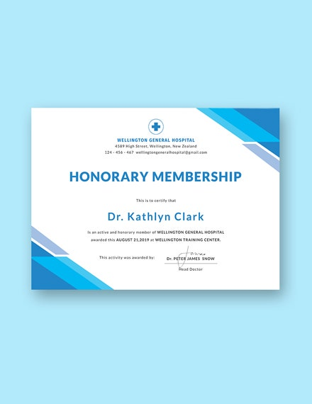 medical membership certificate example