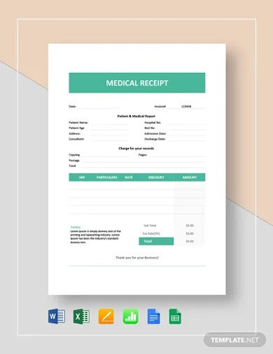 medical receipt template1
