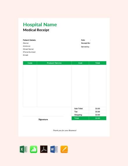 medical service receipt