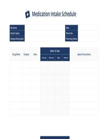 Medication Intake Schedule