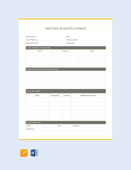 minutes of meetings formats