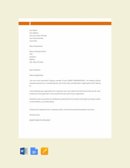 membership application letter template