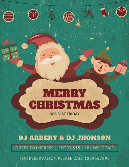 merry christmas flyer template 1x