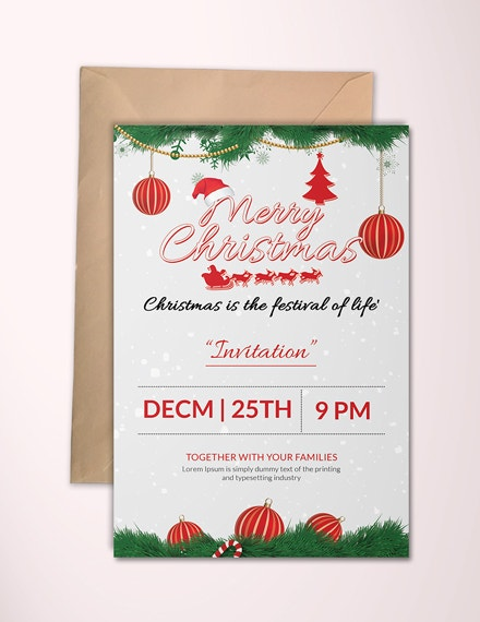 merry christmas party invitation template