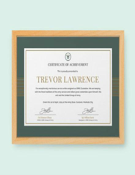 military certificate of appreciation