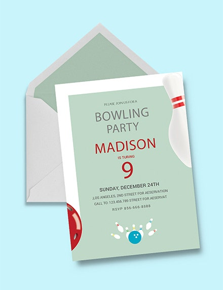 Minimal Bowling Party Invitation Layout