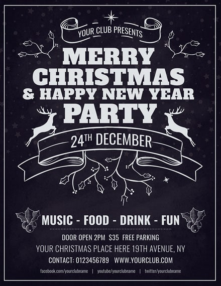 minimal christmas flyer template1x