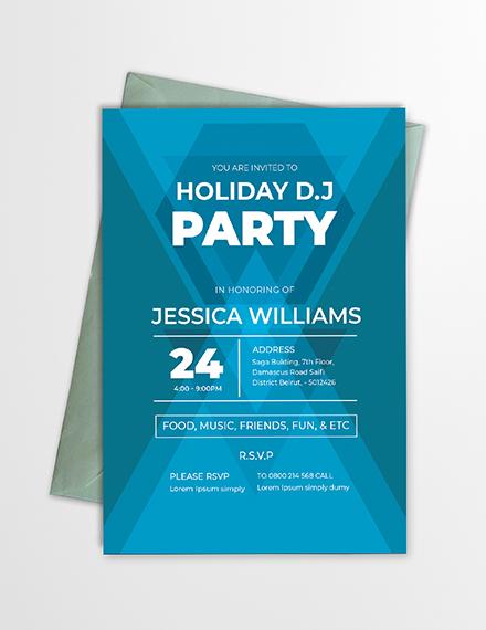 minimal dj party invitation format