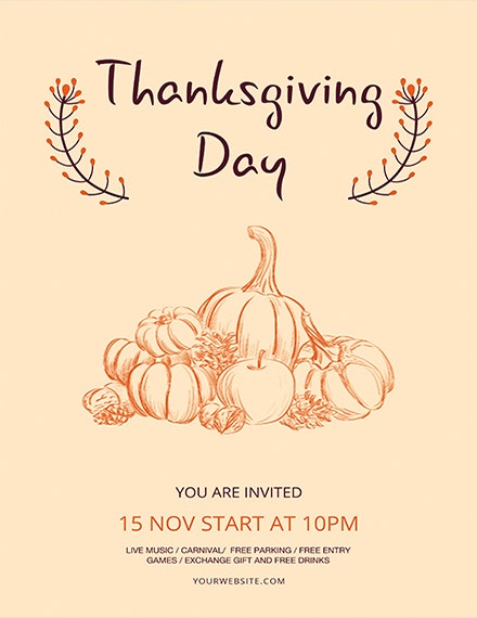 Minimal Thanksgiving Flyer Template