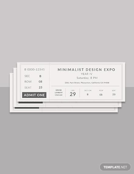 minimalist ticket template psd