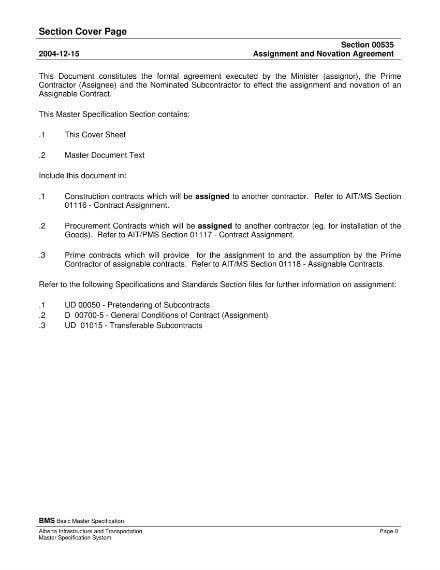 minister contractor novation agreement sample