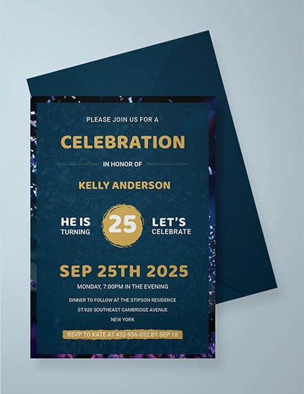 modern adult birthday party invitation template