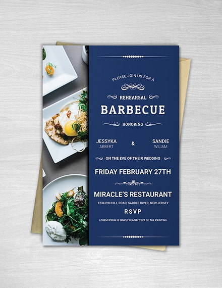 modern bbq party invitation template