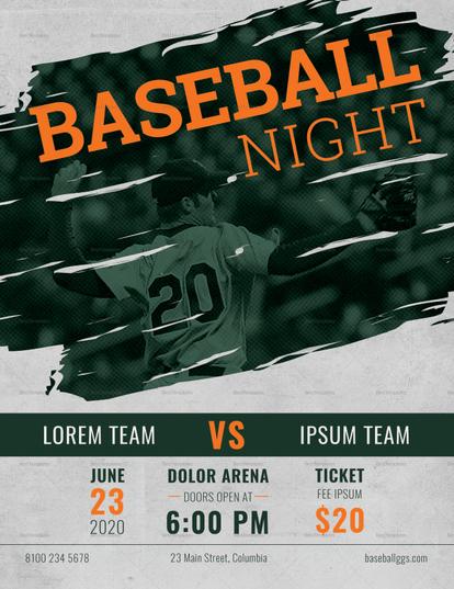 modern baseball night flyer sample