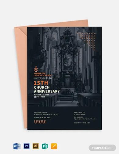 modern church anniversary invitation template