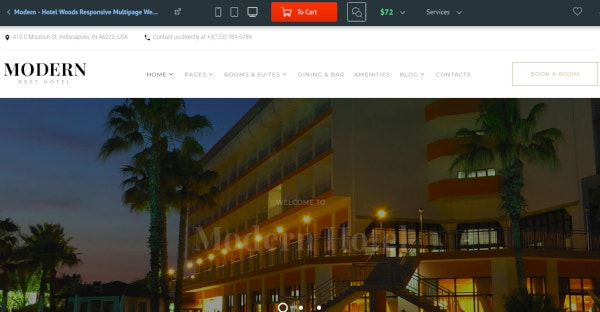 modern hotel responsive multipage website template