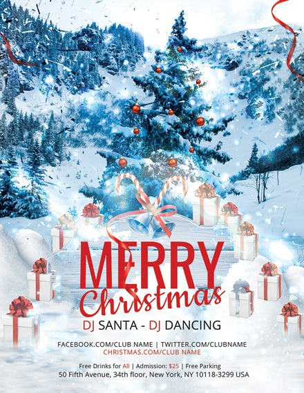 modern merry christmas flyer template1x