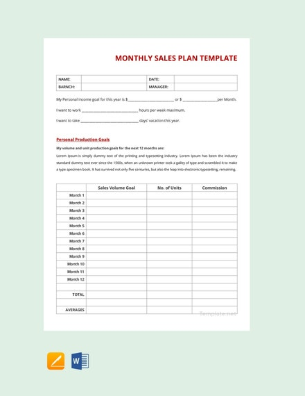 monthly sales plan example