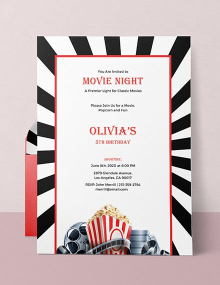 movie night invitation card template