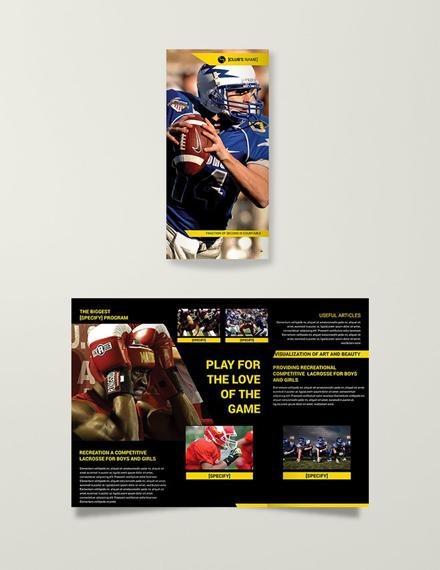 multipurpose sports trifold brochure format