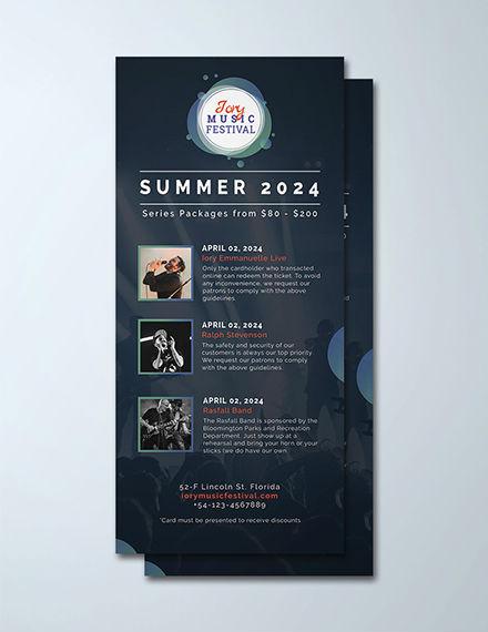 music festival rack card psd template
